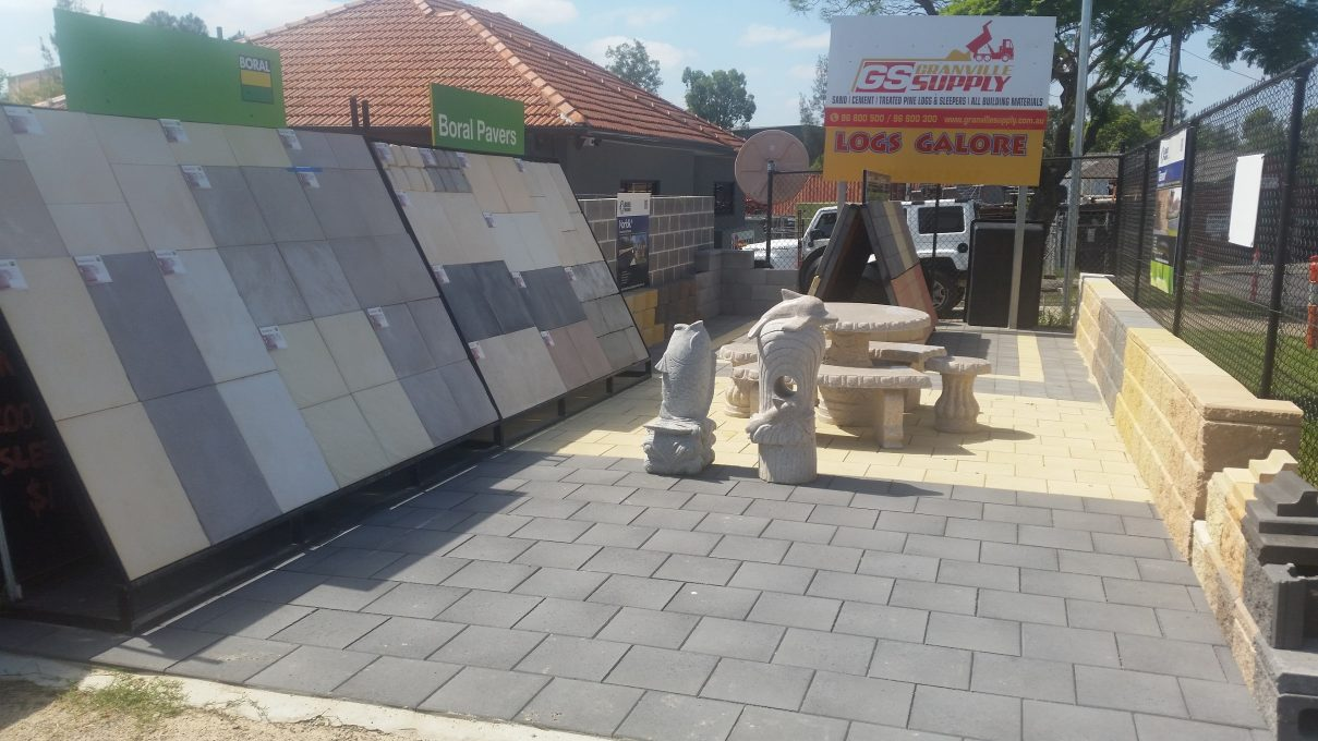 Sand and Cement - display of pavers and retaining wall blocks