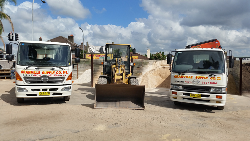 Sand and Cement - our trucks and loader